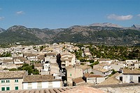 General view of Campanet, as seen from the bell tower of the parish church. Majorca. Balearic Islands. Spain