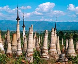 Indein Pagoda and archaeological site. Inle Lake. Shan State. Myanmar.