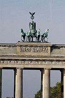 Quadriga on the top of Brandenburg Gate in Pariser Platz, Mitte . Berlin. Germany