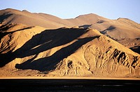 Rolling mountain landscape at dusk South Tibet, China