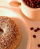 Bagel with coffee beans
