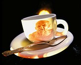 Angry man on the side of a coffee cup