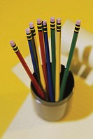 Overhead view of cup of pencils