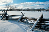 Winter scenic, snow on fence, Bucks County, PA