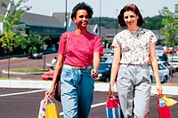 Women walking in parking lot with shopping bags