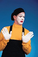 Mime with a ´No thanks´ expression, portrait.