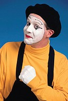 Mime with ´Let´s go´ expression, protrait.
