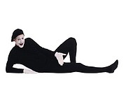 Mime lounging, portrait.