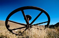 Antique wheel. Bodie, California, USA