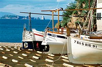Catalan traditional boats in Sa Riera harbour. Costa Brava, Girona province. Spain