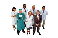 Full length portrait of group of healthcare professionals