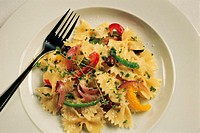Plate of bow tie pasta