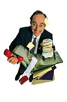 Businessman character holding books, files, telephone and rotary card file