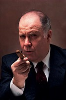 Businessman character with cigar, portrait
