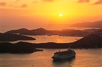 Cruise ship at sunset, St. Thomas, US Virgin Islands