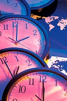 Clocks indicating time zones over world map