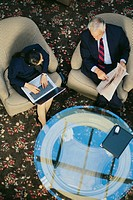 Business people in meeting, aerial angle