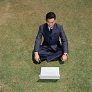 Businessman working in a field