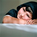 Smiling boy wearing a hood (thumbnail)