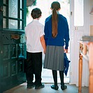School children standing in doorway (thumbnail)