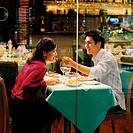 Young couple in restaurant