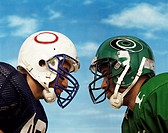 Two American Football Players Standing Face to Face