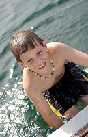 Boy in Lake Simcoe Ontario