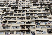 Apartment block housing slums. Yaumatei. Kowloon. Hong Kong. China