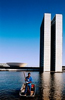Congress building and lake. Federal Capital of Brasilia founded by president Kubisteck and designed by Oscar Niemeyer. Brazil