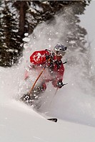Man skiing powder snow in the Sawtooth Mountains of Idaho near Mount Williams. USA