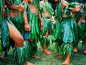 Boys dressed with vegetal leaves at the Evangile festival.Tahiti island . French Polynesia