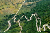 NEW ZEALAND Near Queenstown. Road with many curves, through forest, aerial view