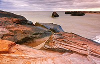 Sandstone, Magdalen Islands. Quebec, Canada