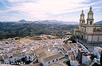 View from the muslim castle. Iglesia de la Encarnación (neo-classical, 19th century). Olvera. Andalusia. Spain