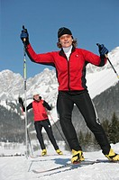 cross_country skiing, cross_country trail, , mountains, snow, sports, Alps, Two, women, woman, winter,