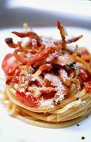 Spaghetti All´Amatriciana. Restaurante ´Convivio´. Rome. Italy.