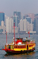 Ferry in Hong Kong bay, China