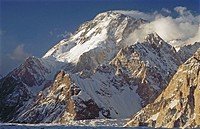 Broad Peak (8051 m.) above Godwin-Austen glacier. Karakoram mountains, Pakistan