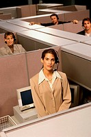 Portrait of customer service representatives in cubicles