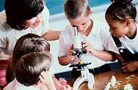 High angle view of school children peering through a microscope with a teacher nearby