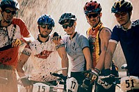 Portrait of a group of cyclists in a race