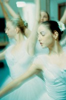 Close-up of young woman performing ballet
