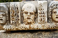 Frieze carved with portraits at the ancient Lycian tombs of Myra. Turkey