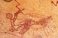 Prehistoric cave paintings at Adrar Akakus region. Sahara desert. Libya. Africa.