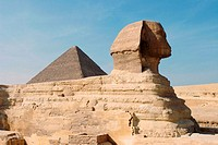 Sphinx and Keops Pyramid. Giza. Egypt