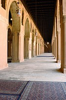 Hallways in the Cairo Mosque of Ibn Tulun. Cairo, Egypt