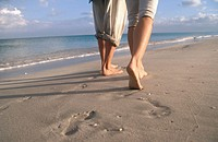 Barefoot prints on the beach