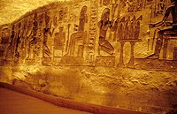 Reliefs inside the temple. Abu Simbel. Egypt