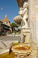 Fountain on the cathedral square. Catania. Sicily. Italy