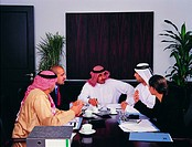 Arab business meeting in a conference room
